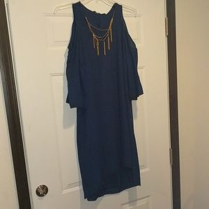 Navy blue open shoulder dress with built in neckla